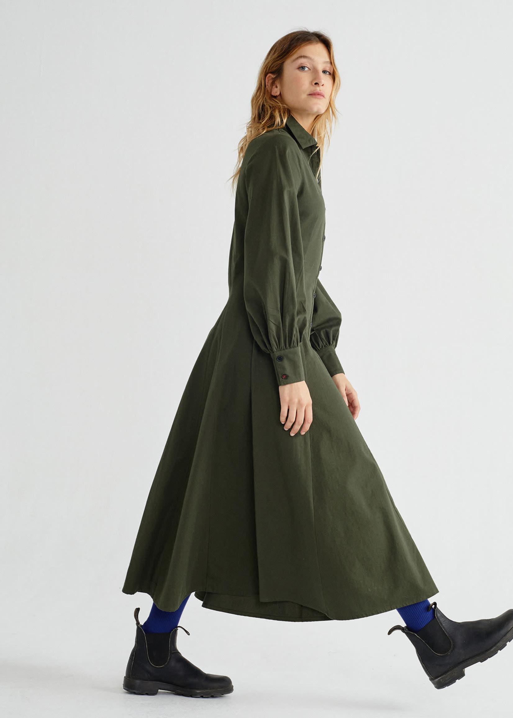 Thinking Mu Green Freya Dress