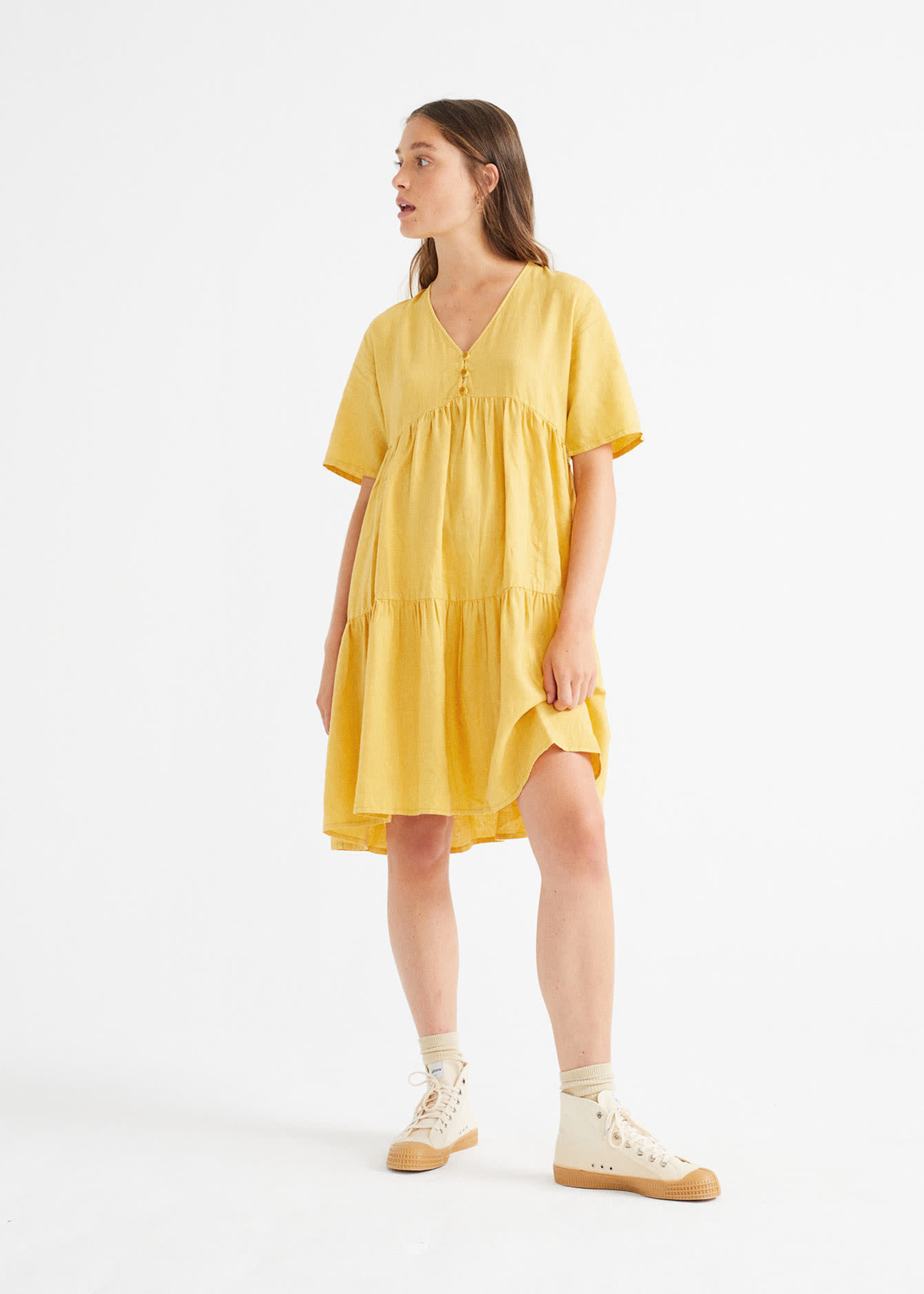 Thinking Mu Mustard Hemp Fresia Dress