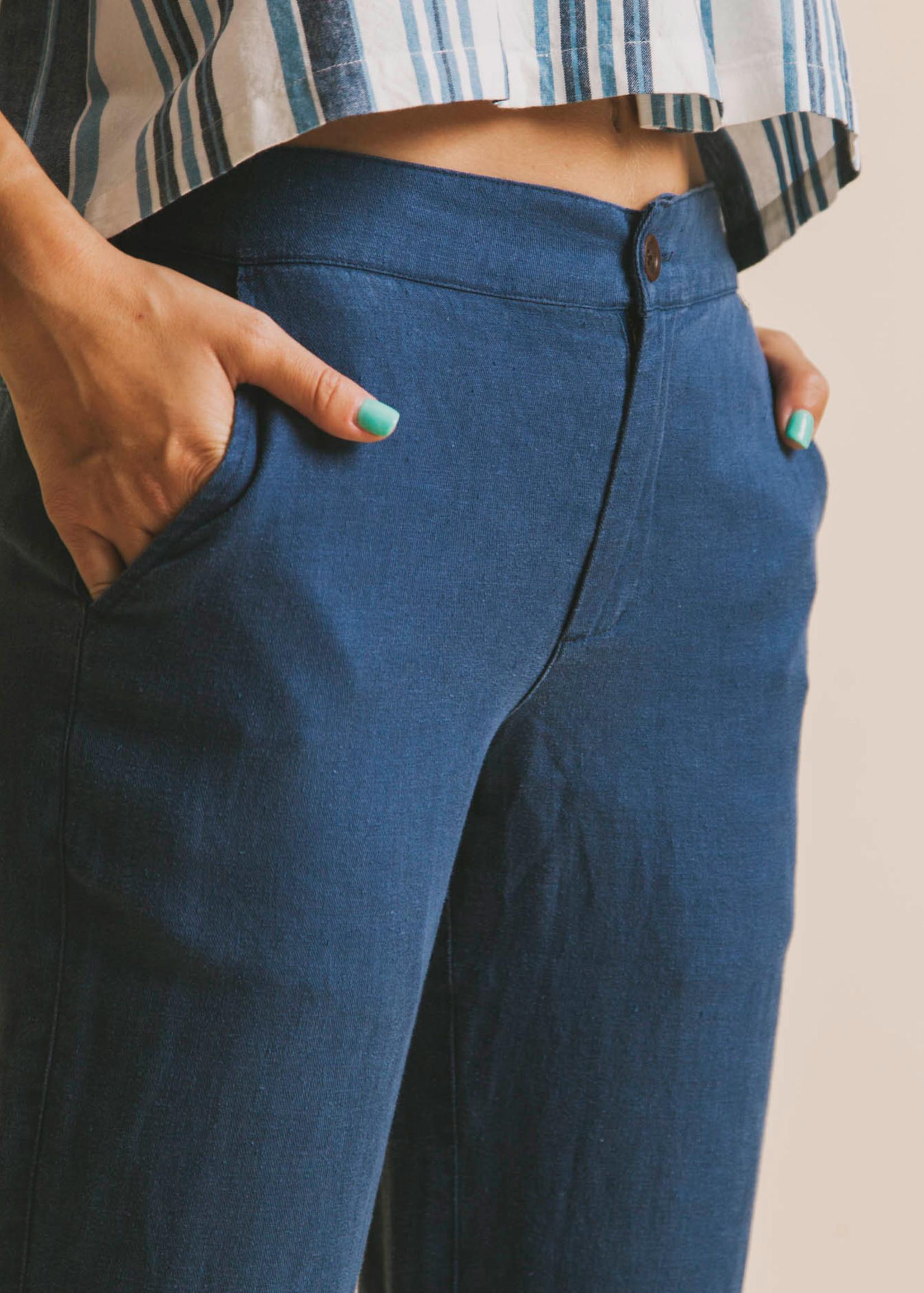Thinking Mu Blue Hemp Dafne Pants