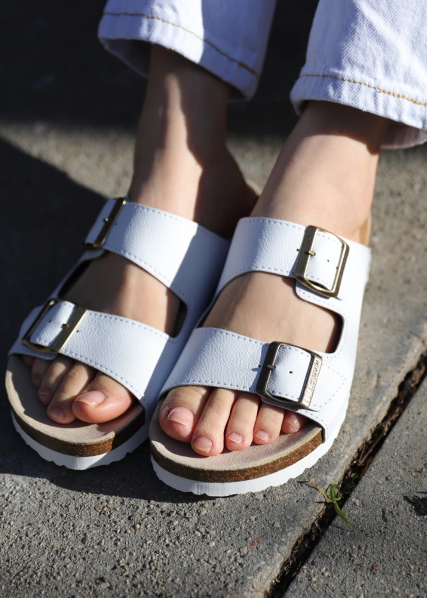 Good Guys Don't Wear Leather Juno Buckled Slide On