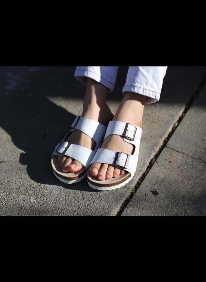 Juno Buckled Slide On