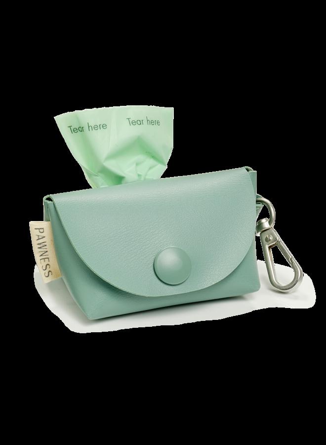 Vegan Leather Poop Bag Holder Bo - Emerald