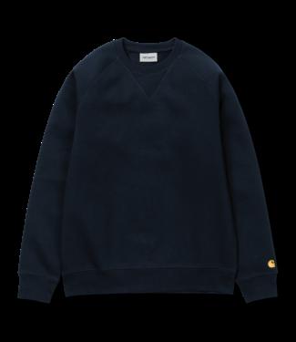 Carhartt WIP Chase Sweat Cotton/Polyester Heavy Sweat - Dark Navy / Gold