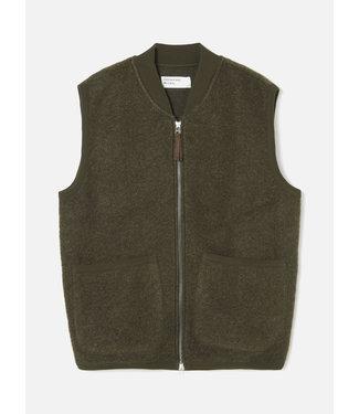 Universal Works Zip Waistcoat Wool Fleece - Olive