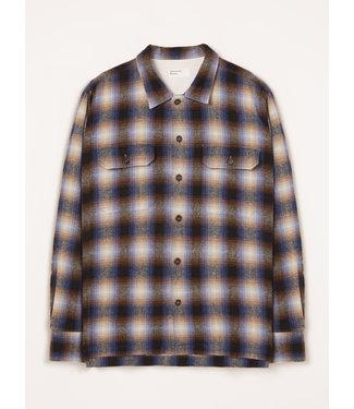 Universal Works L/S Utility Shirt Texas Wool Plaid - Navy Check