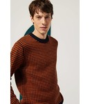 Le Mont st. Michel Sabino Houndstooth Sweater 100% lambswool - Navy-Curry