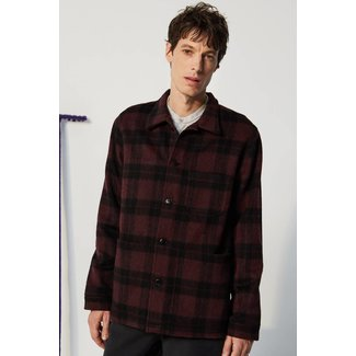 Le Mont st. Michel Viny Wool Check Work Jacket 70% wool - Burgundy Black