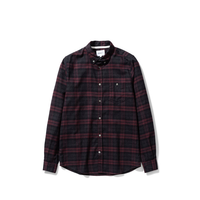 Norse Projects Anton Brushed Flannel Check - Eggplant Brown