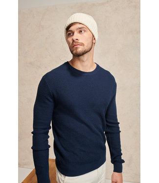 Simeon Honey combe sweater 50% merino wool- Dark Blue