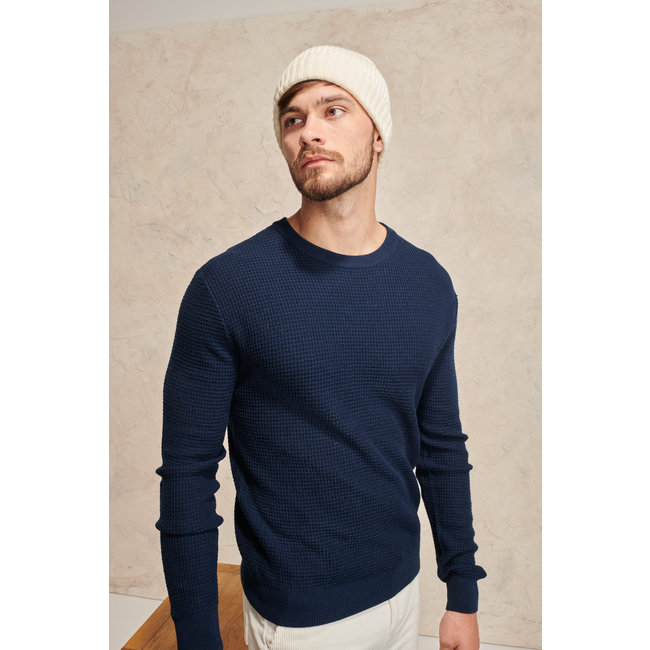 Le Mont st. Michel Simeon Honey combe sweater 50% merino wool- Dark Blue