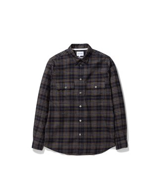 Norse Projects Villads Brushed Flannel Check - Dark Navy