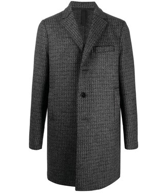 Harris Wharf London Men Boxy Coat Double faced Donegal - Grey/Black