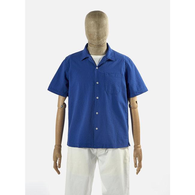 Universal Works Universal Works Road Shirt   Blue Seersucker Bengal
