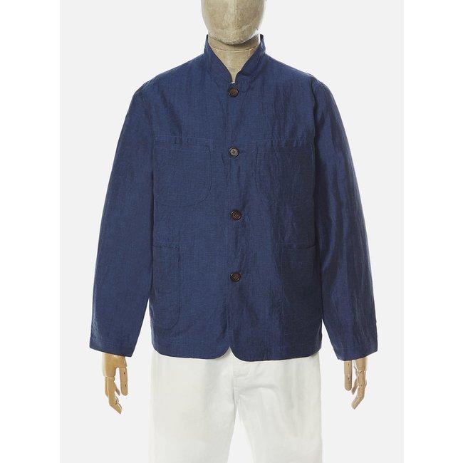 Universal Works Nehru Jacket - Blue Linen Mix