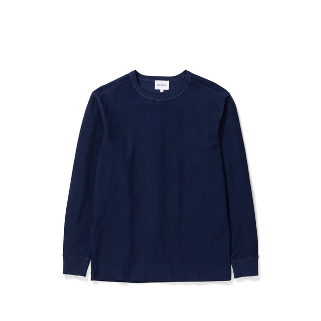 Norse Projects Johannes Compact Waffle LS - Navy