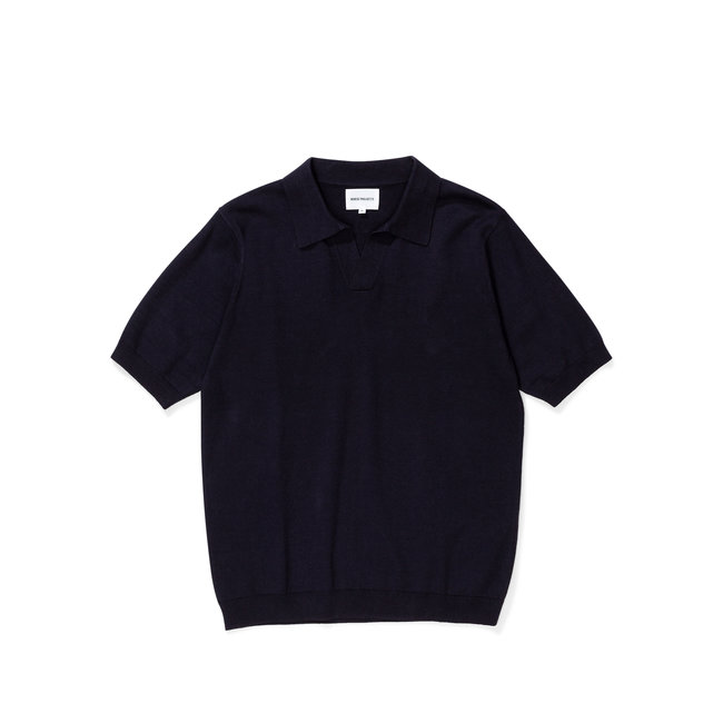 Norse Projects Leif Cotton Linen Polo - Dark Navy