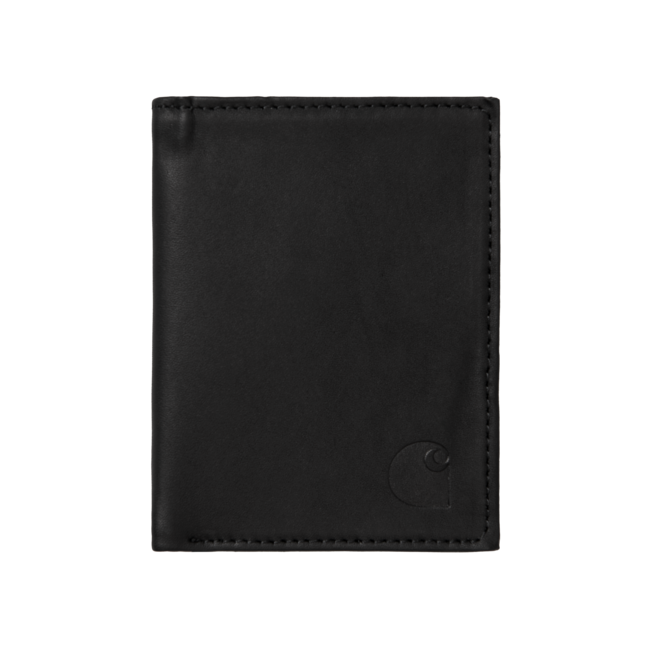 Carhartt WIP Leather Fold Wallet - Cow Leather Black
