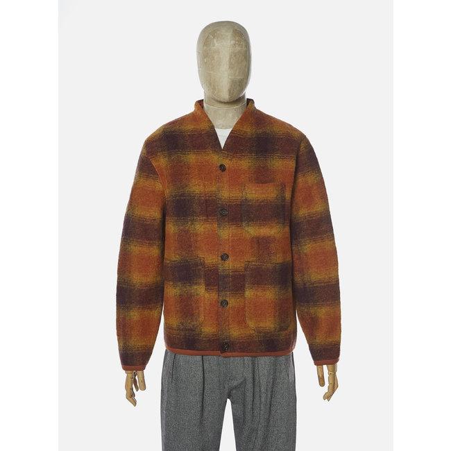 Universal Works Cardigan - Gold / Claret / Checked Wool Fleece