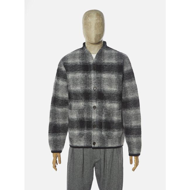 Universal Works Cardigan - Grey Charcoal / Checked Wool Fleece