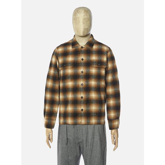 Universal Works L/S Utility Shirt - Brown Check / Texas Wool Plaid