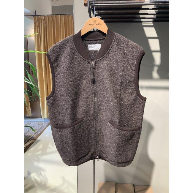 Universal Works Zip Waistcoat  Wool Fleece - Brown
