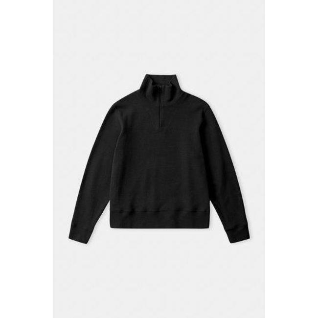 About Companions Noam Half Zip Jumper - Eco Brushed Black