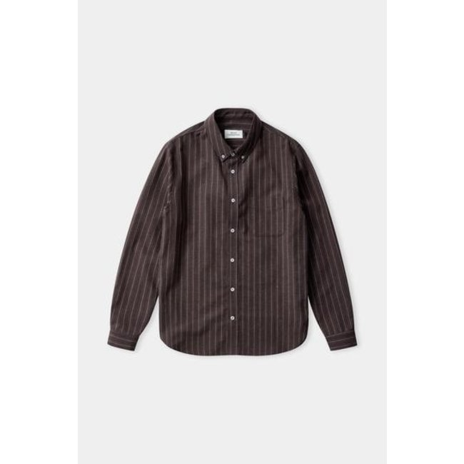 About Companions Ken Shirt - Eco Striped Anthracite Flannel