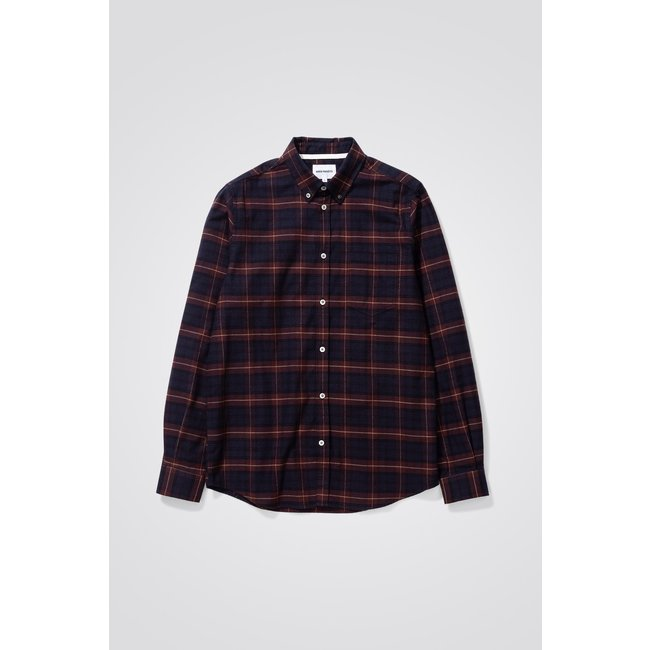 Norse Projects Anton Brushed Flannel Check - Cordovan Brown