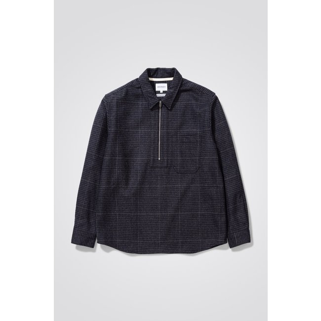 Norse Projects Elof Wool - Dark Navy Check