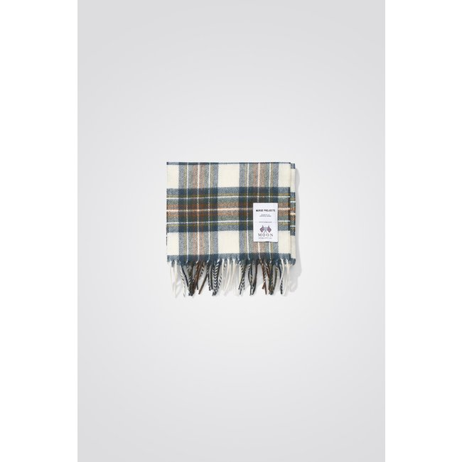 Norse Projects Moon Checked Lambswool Scarf - Scoria Blue