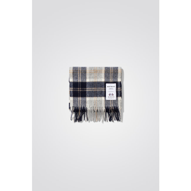Norse Projects Moon Checked Lambswool Scarf - Navy