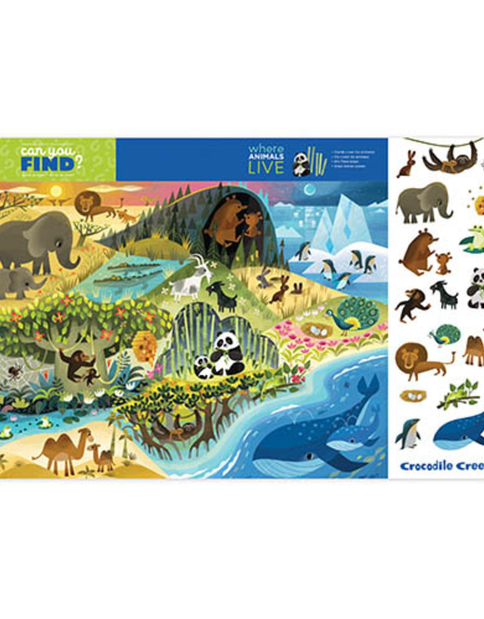 Crocodile Creek Placemat Where Animals Live