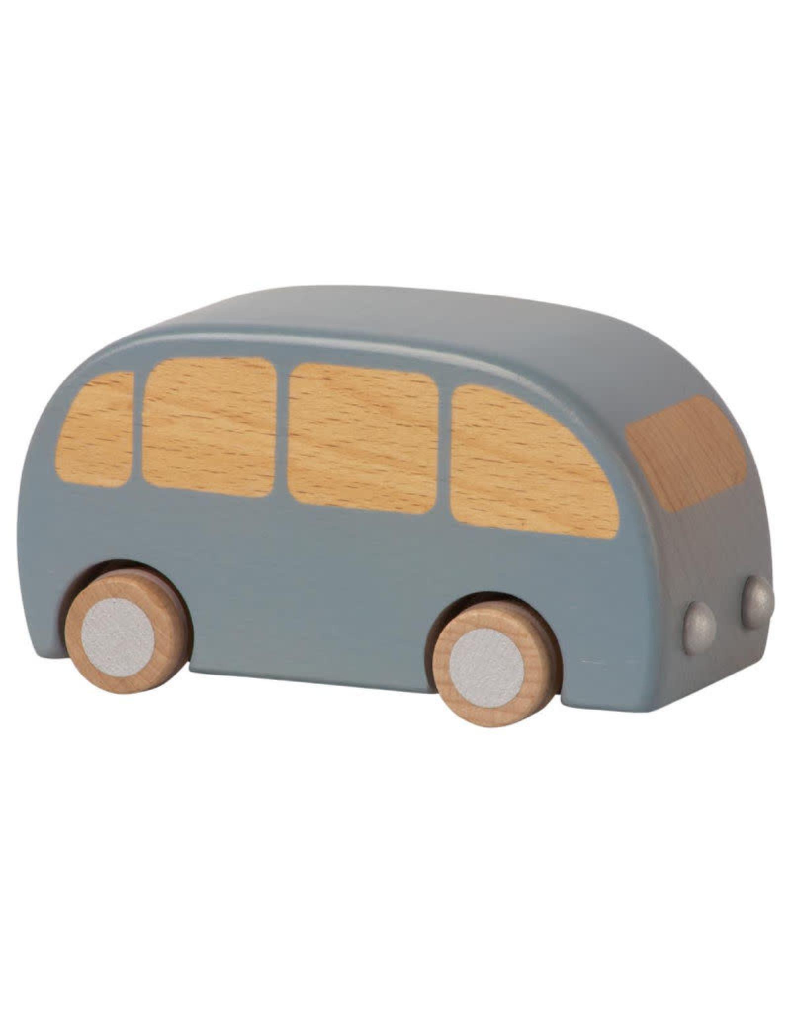 Maileg Houten Bus Pull Back Blauw