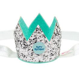 Souza! Verjaardagskroon zilver op elastieken haarband