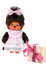 Monchhichi Monchhichi Actieset Meisje met roze jurk + extra kledingsetje