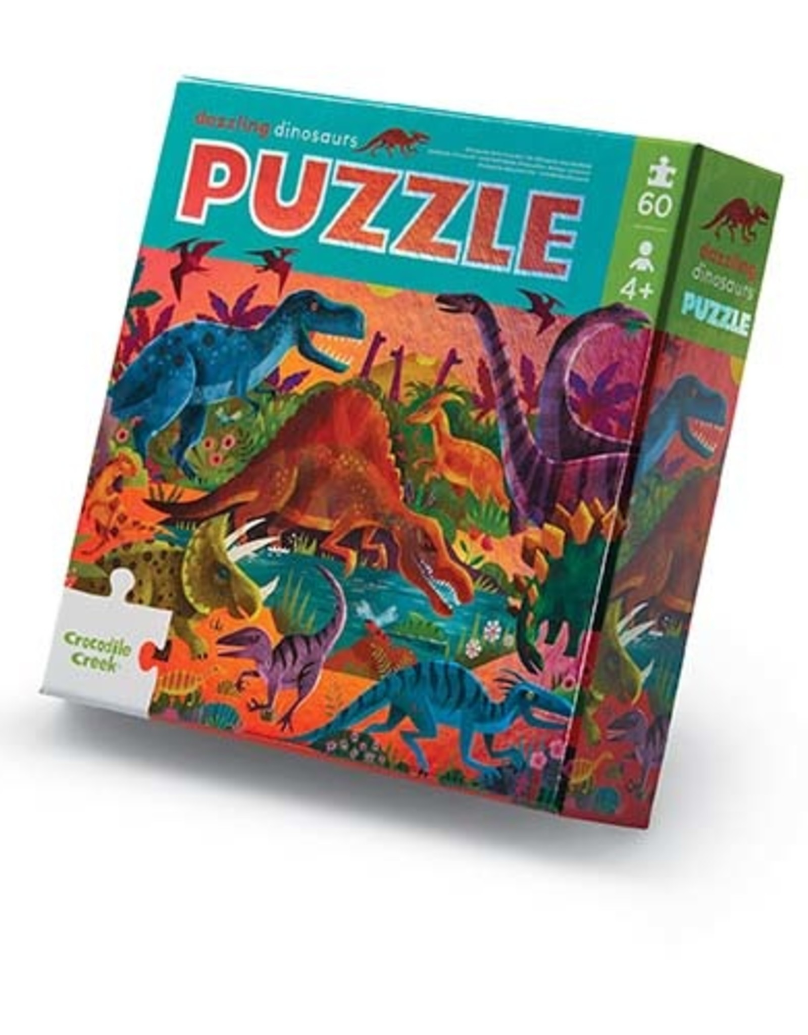 Crocodile Creek Puzzel met folie Dazzling Dinos 60st.