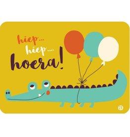 Postkaart Hoera krokodil