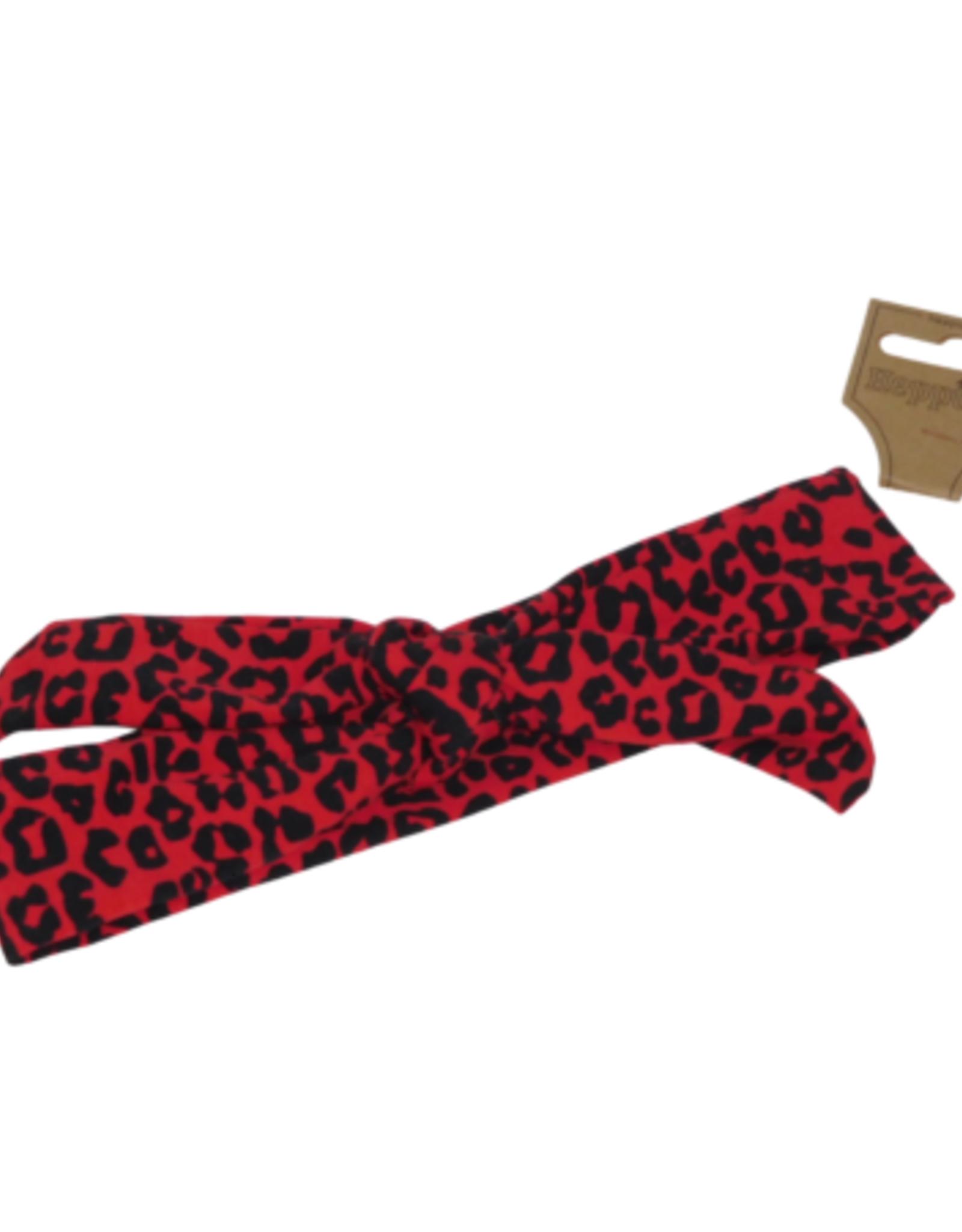 Knoophaarband Panterprint rood