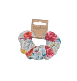 Scrunchie panterprint met rozen