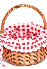Rieten mandje met rood geruite bekleding