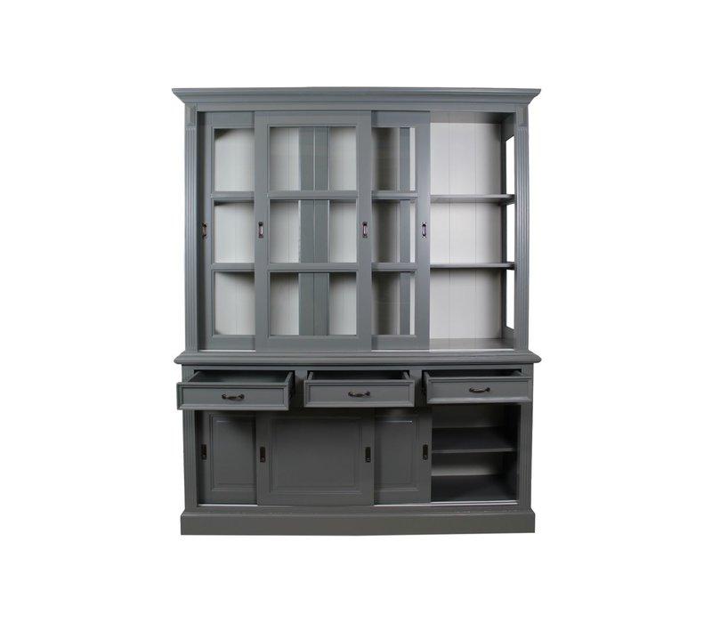 Bretonse glaskast grijs/wit 180 cm