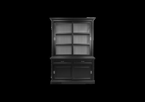Bretonse glaskast zwart/grijs 150 cm