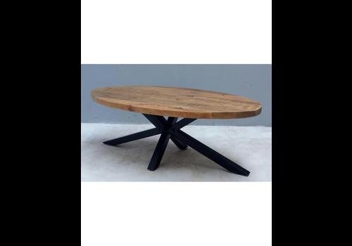 Ovale salontafel mangohout met spinpoot
