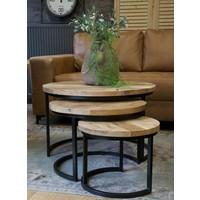 3-delige salontafelset Mangohout Naturel