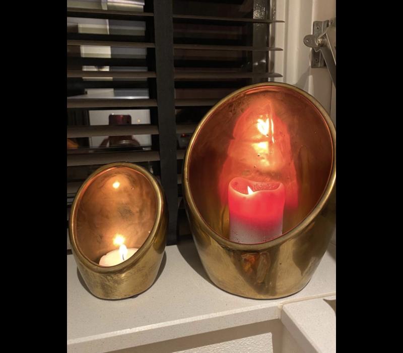 Set of 3 kaarsenhouders gold