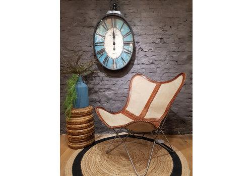 Vlinderstoel Canvas leather