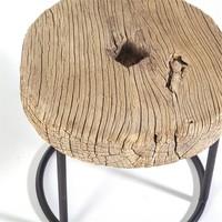 Stoere bijzettafel hout/metaal