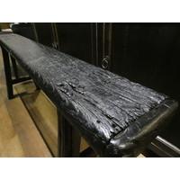 Oud houten bankje zwart
