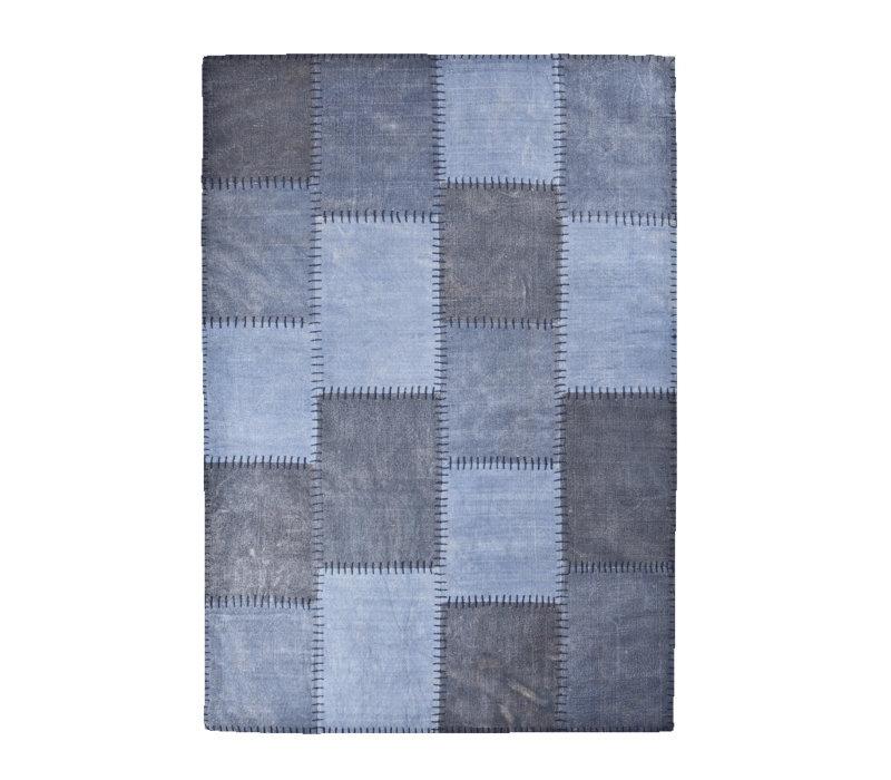 Vloerkleed Patchwork mono blauw