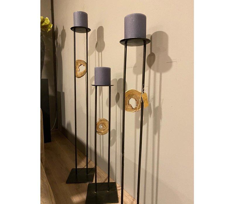 Kaarsenstandaard hout set van 3